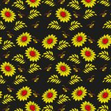 Floral seamless pattern. Russian khokhloma (Hohloma) background  design. Gold and red colors on black background. Royalty Free Stock Photo