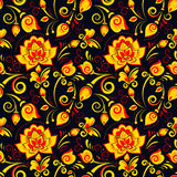 Floral seamless pattern in russian style khokhloma Stock Photos