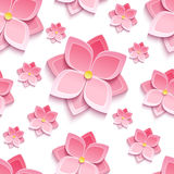 Floral seamless pattern with sakura blossom. Trendy background seamless pattern with decorative pink 3d flower sakura, japanese cherry tree, cutting paper vector illustration