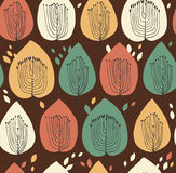Floral seamless pattern in scandinavian style. Fabric texture with decorative trees. Leafs on brown background Royalty Free Stock Photography