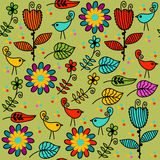 Floral seamless pattern and seamless pattern in swatch menu, vec Stock Photography