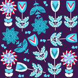 Floral seamless pattern and seamless pattern in swatch menu, vec Stock Photo