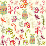 Floral seamless pattern and seamless pattern in swatch menu, vec Stock Image