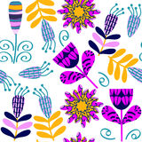 Floral seamless pattern and seamless pattern in swatch menu, vec Royalty Free Stock Photo