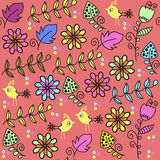 Floral seamless pattern and seamless pattern in swatch menu, vec Stock Photos
