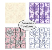 Floral seamless pattern. Set. Royalty Free Stock Photos