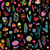 Floral seamless pattern, sketch for your design Royalty Free Stock Photos