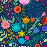 Floral seamless pattern, sketch for your design Royalty Free Stock Photo