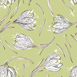 Floral seamless pattern with snowdrops Royalty Free Stock Images