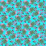 Floral seamless pattern - spring background. Cherry blossom spring backdrop - floral seamless pattern on a blue background Stock Images