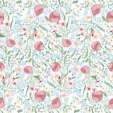 Floral seamless pattern with spring flowers. Endless texture for romantic  design, decoration,  greeting cards, posters. Stock Photos