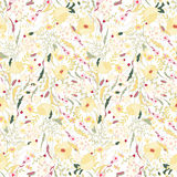 Floral seamless pattern with spring flowers. Endless texture for romantic  design. Floral seamless pattern with yellow flowers. Endless print for romantic design Royalty Free Stock Images