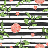 Floral seamless pattern with stripes. Royalty Free Stock Image