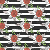 Floral seamless pattern with stripes. Royalty Free Stock Photography