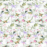 Floral seamless pattern with stylized forest flowers and herbs. Stock Images