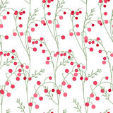 Floral seamless pattern with stylized red berries. Stock Image