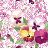 Floral seamless pattern. Summer flower background. Flourish text. Ure with pansy flowers, bluebells and lilacs stock illustration