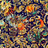 Floral seamless pattern, texture effect. Indian ornament. Vector decorative flowers and Paisley. Ethnic style. Design Stock Photos
