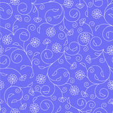 Floral seamless pattern with thin white swirls Stock Photography