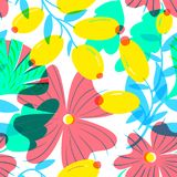 Floral seamless pattern with tranparency elements. Background wi Royalty Free Stock Image
