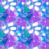 Floral seamless pattern with tranparency elements. Background wi. Th abstract bright flowers. Vector illustration for summer and spring textile, wrapping, fabric royalty free illustration