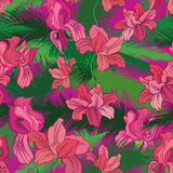 Floral seamless pattern. Tropical fowers. Jungle style backgroun Royalty Free Stock Image