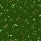 Floral Seamless Pattern with Tropical Leaves and Geometric Golden Shapes. Natural Background for Fabric, Wallpaper. Decoration. Vector illustration Royalty Free Stock Images