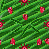 Floral seamless pattern with tulips on the background with green leaves and ornament Stock Photography