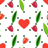 Floral seamless pattern with tulips and hearts on the white background with green circles Stock Photo