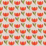 Floral seamless pattern with tulips. Floral seamless pattern with red tulips Stock Photo