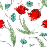 Floral seamless pattern with tulips Stock Photography