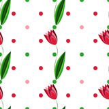 Floral seamless pattern with tulips on the white background with colored circles. Seamless pattern with tulips on the white background with colored circles Stock Photo