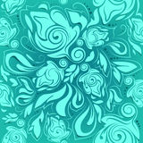 Floral seamless pattern, turquoise abstract background Stock Photography