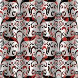Floral seamless pattern. Vector  3d  background silver black red. With hand drawn  flowers, leaves, circles, meanders,   greek key ornaments. Surface ornate Stock Images