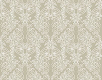 Floral seamless pattern. Vector illustration of detailed ornament of floral twigs and curled branches in beige and ivory colors Royalty Free Stock Photos