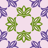 Floral seamless pattern. Vector illustration. Floral seamless pattern with green and violet  leaves. Vector illustration on  a light purple background Royalty Free Stock Photo
