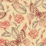 Floral seamless pattern. Seamless vector floral pattern. Illustration roses in Victorian style. Vintage luxury decoration of garden roses. Series flower design Royalty Free Stock Images