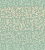 Floral seamless pattern in vector. Spring endless background with flower, branch, heart, leaf etc in gentle colors. Stock Photo