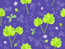 Floral seamless pattern on violet background Royalty Free Stock Photos