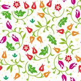 Floral seamless pattern with warm color scheme. Vector illustration. stock image