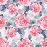 Floral seamless pattern. Watercolor background with beautiful roses royalty free illustration