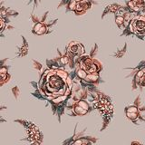 Floral seamless pattern. Watercolor flowers. Roses, peonies, lilacs. Ancient bouquets of flowers. Wedding bouquet. Pastel color. Beige background Watercolor Stock Photo