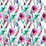 Floral seamless pattern. Watercolor illustration Royalty Free Stock Photo