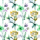 Floral seamless pattern, watercolor illustration. Tile for wallpaper or fabric Stock Images