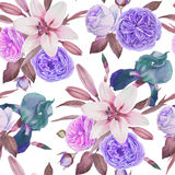 Floral seamless pattern with watercolor iris, white lilies and roses Stock Photo