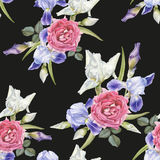 Floral seamless pattern with watercolor irises and roses Stock Photos