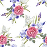 Floral seamless pattern with watercolor irises and roses. Royalty Free Stock Images
