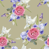 Floral seamless pattern with watercolor irises and roses. Stock Images