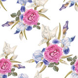 Floral seamless pattern with watercolor irises and roses. Stock Photo