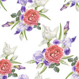 Floral seamless pattern with watercolor irises and roses. Royalty Free Stock Photo